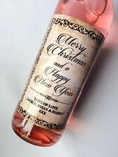 PERSONALISED SHABBY CHIC CHRISTMAS WINE & CHAMPAGNE BOTTLE LABEL GIFT