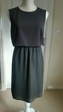 NEW MARKS AND SPENCER M&S PETITE BLACK CREAM PLEATED OCCASION DRESS 10 to 16
