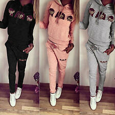 Womens Monkey Hoodies Sweatshirt Ladies Gym Tracksuit Running Jogger Pants