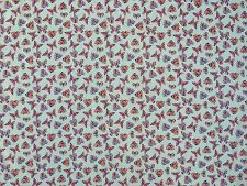 """Multicoloured Floral Flowers Hearts And Butterflies Print Poly Cotton Fabric 45"""""""