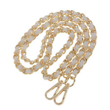 Metal + Leather Shoulder Bag Replacement Chain Strap for Womens Handbag Purse