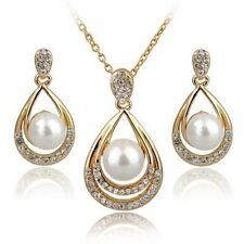 Women Fashion Gold Silver Tone Crystal Pearl Earrings Necklace Jewelry Gift Set