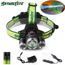 10000lm Headlamp CREE XM-L 3x T6 LED Headlight 18650 Light + Charger+ Battery