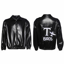 1950s Mens Black Leather Look T-Bird T Bird Jacket Danny Fancy Dress Costume