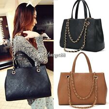 Retro Women Lady PU Quilted Crocodile Shoulder Tote Bag Handbag Purse UTAR