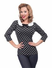 Steady Clothing Polka Dot Baby Doll Black top Peter Pan collar pinup rockabilly