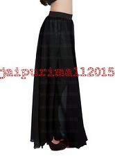 Black Women Double Layer Chiffon Pleated Long Maxi Dress Elastic Waist Skirt