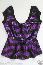 NWT bebe purple mesh black sparkle sequin striped dress top peplum sexy S small