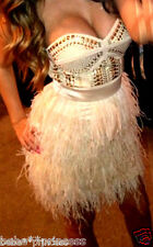 NWT bebe addiction isis S small M medium feather top dress strapless studded