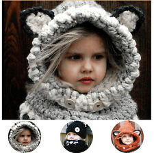 Hoody Fox Knit Baby Hat Girl Boy Kid Wool Crochet Winter Scarf Earflap Cap Photo