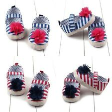 Toddler Infant Baby Kids Girl Flower Strip Shoes Cute Soft Sole Crib Shoes 0-12M