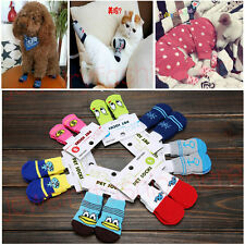 4Pcs Pet Dog Cat Cotton Anti-slip Knit Weave Warm Sock Skid Bottom More style 81