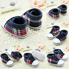 New Toddler Baby Boy Infant Lattice Soft Sole Crib Shoe Sneaker Size 0-18Months