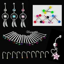 Crystal Catcher Navel Dangle Barbell Nose Tongue Belly Bar Ring Body UTAR