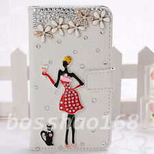 Bling Diamonds Crystal flowers girl cat PU Leather flip Slot wallet Cover Case C