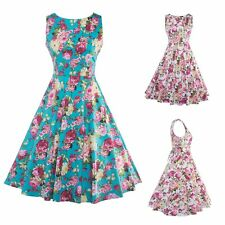 Women 50'S 60'S  Vintage Floral Printed Swing Pinup Cocktail Rockabilly Dress