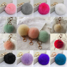 Rabbit Fur Ball PomPom Cell Phone Car Keychain Pendant Handbag Cute Key Ring HU