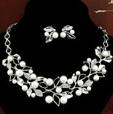 New Women Imitation Pearl Crystal Necklace Earring Fashion African Jewelry Set