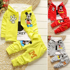 3pcs Kids Boy Girl Mickey Outfits Set Coat+T shirt+Pants  Cotton Autumn Clothing