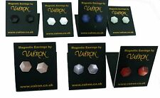 Hexagon Shape 10mm Earrings Large Choice of Colours - magnetic, clip on or stud
