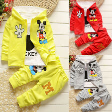 3pcs Kid Child Boy Girl Hooded Coat+T-Shirt+Pants Set Mickey Clothes Outfits Set