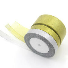 25 Yards Roll Gold/Silver Sheer Organza Ribbon Party Wedding Favor 6-40mm  ST