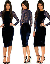 Sexy Women Blue Velvet Lace Long Sleeve bodycon pencil party dress for evening