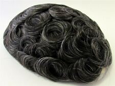 "Men's Hairpiece Toupee Black + Some Gray 100% Human Indian Hair 9"" x 7"" 1B20"