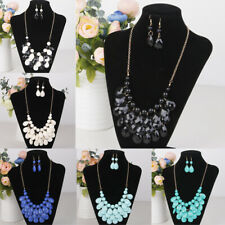 Fashion Wedding Bridal Multilayer Waterdrop Necklace Earring Set Jewlery