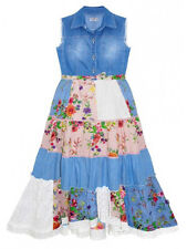 Girls Domino Girl DG Denim Waistcoat Patchwork Lace Floral Dress 2 to 10 Years
