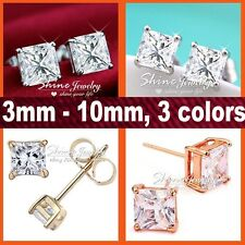 9K GOLD GF SQUARE CT SIMULATED DIAMOND MENS WOMENS GIRL KID SOLID STUD EARRINGS