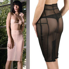 Sheer Black Mesh Stretch Seamed Sexy Skirt Villa Bel Ami Maison Close S