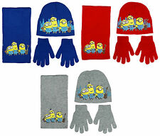 Boys Despicable Me Minions Guitar Knit Beanie Hat Scarf & Gloves Set 3-12 Years