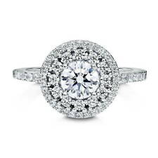 BERRICLE Sterling Silver Round Cut CZ Halo Flower Engagement Ring 1.38 Carat