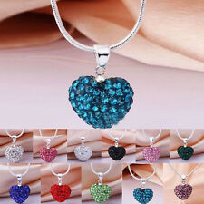 Lady's Pendant Jewelry Crystal Heart 925 Silver plate Necklace+Chain