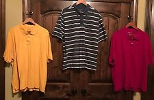 3 Eddie Bauer striped/solid GOLF polo short-sleeve MENS XXL lot see measurements