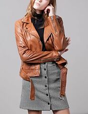 STRADIVARIUS WOMAN CAMEL LEATHER BIKER JACKET WITH BELT REF:02558209 SIZES:S-XL