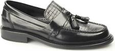 Ikon WEAVER Mens Polished Leather Slip On Classic MOD Tassel Loafers Black