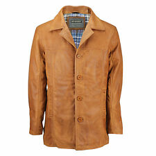 Mens Vintage Real Leather Tan Brown Classic Reefer Jacket Mid Length Coat