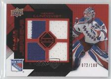 2008-09 Upper Deck Black Diamond Quad Jerseys Ruby #BDJ-HL Henrik Lundqvist Card