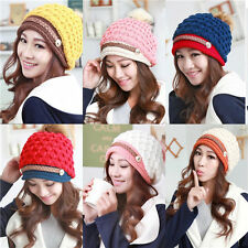 Winter Warm Cap Women Ladies Beret Braided Baggy Beanie Crochet Knit Hat NEW oiu