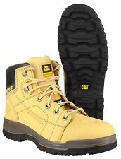 "CAT Caterpillar Dimen 6"" Safety Mens Lace-Up Honey Leather Hiker Boots UK6-12"
