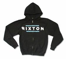 Rixton Distressed Logo Mens Black Zip Hoodie Sweatshirt New Official
