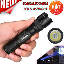 5000LM 5 Modes CREE XM-L T6 LED Zoom Flashlight Torch Lamp 18650+Battery+Charger