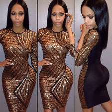 Sexy Women Sequins 3/4 Sleeve Mini Dress Bandage Bodycon Clubwear Cocktail Party