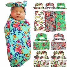 2PCS Floral Swaddle Blanket & Bow Headband Newborn Baby Knit Blanket Wrap Sets