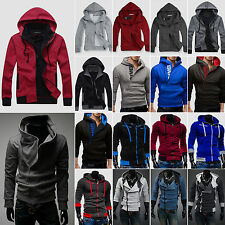New Plain Men Winter Warm  Zip Up Hoody Coat Jacket Sweatshirt Hooded Zipper Top