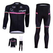 Men's Cycling Wear Long Sleeve Bike Bicycle bib Shirt Jersey Gel Pad Pants Set