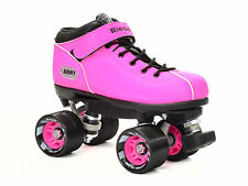 Riedell Pink Neon Dart Quad Roller Derby Speed Skates & 2 Laces Pink & Black