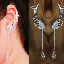 Angel Wing Silver Plated Crystal Chain Charming Drop Ear Cuff Stud Clip Earrings